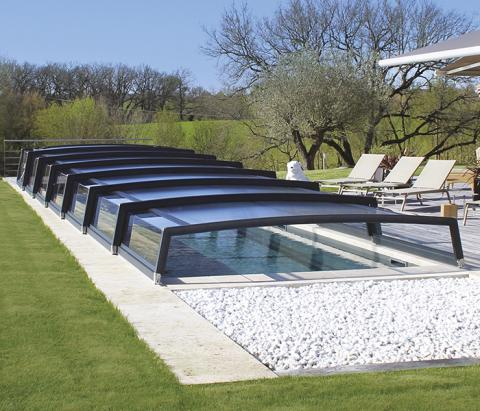 Abri piscine télescopique gris anthracite